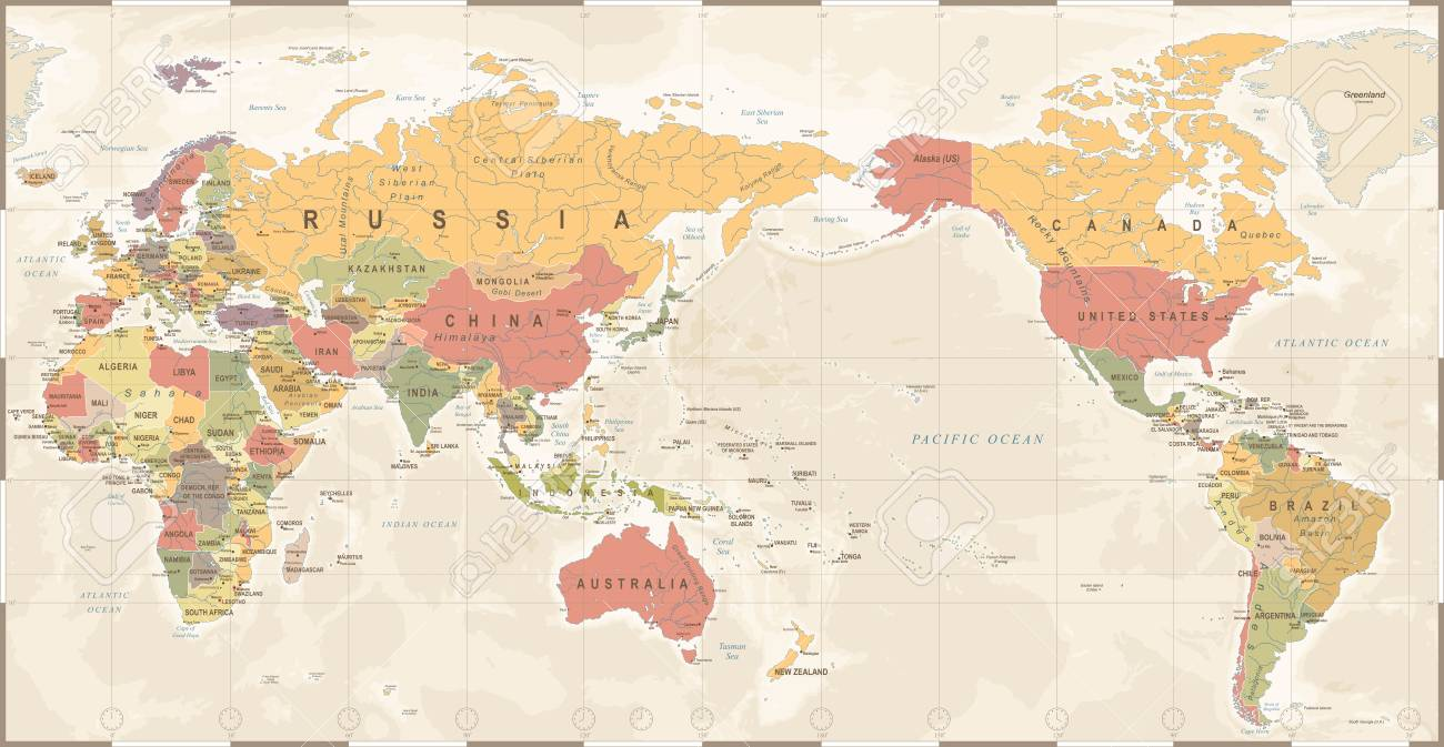 Asia On A Map Of The World.World Map Vintage Old Retro Asia In Center Vector