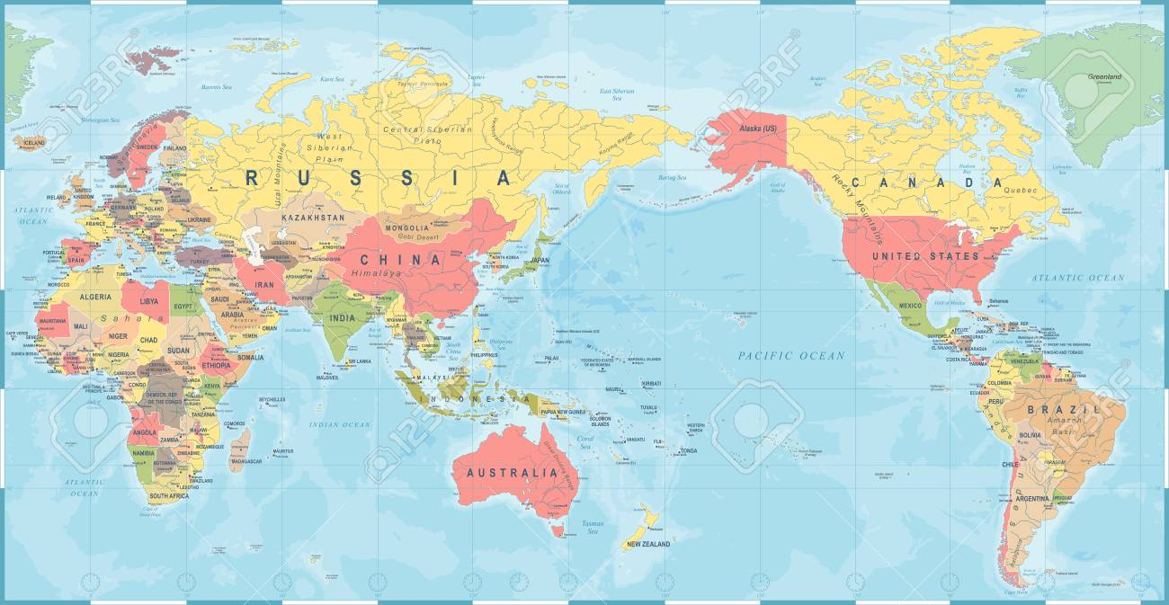 World map vintage old retro, Asia in center vector. - 93753215