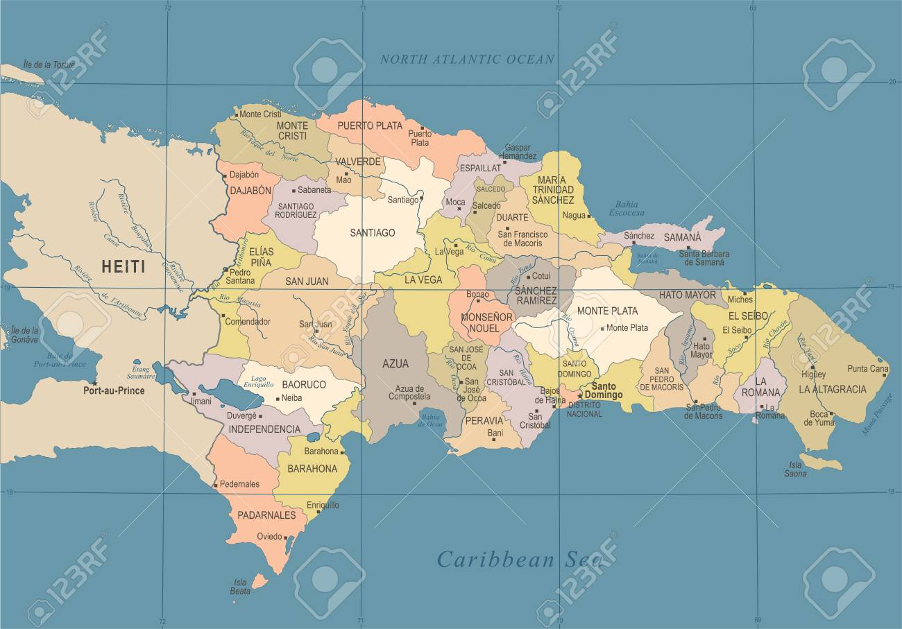 Dominican Republic Map in High Detailed Vector Illustration.