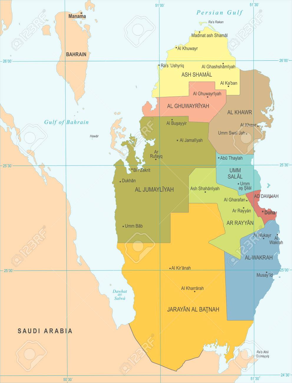 Qatar Map - High Detailed Vector Illustration Royalty Free Cliparts ...