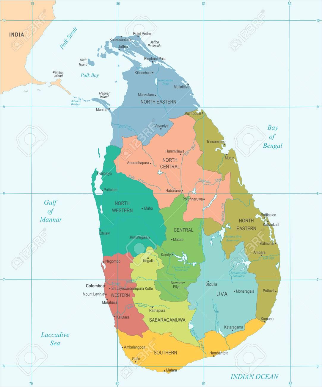 Mapa De Sri Lanka.Mapa De Sri Lanka Ilustracion Vectorial Detallada Detallada