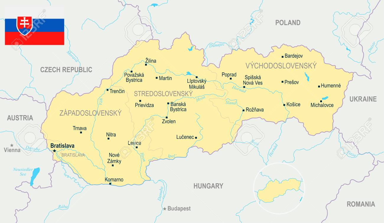 Slovakia Map And Flag - High Detailed Vector Illustration Royalty ...