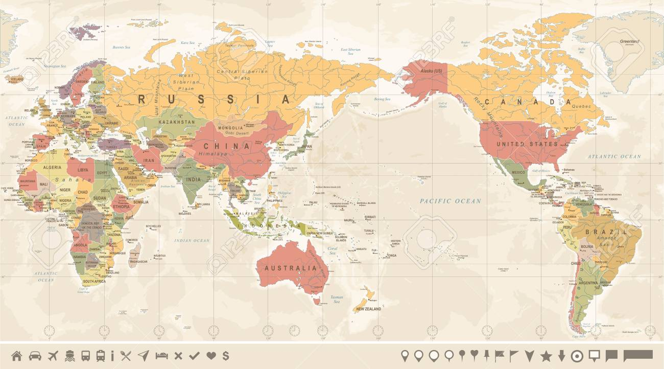 Vintage Political World Map Pacific Centered Vector Royalty Free - Us-centered-world-map