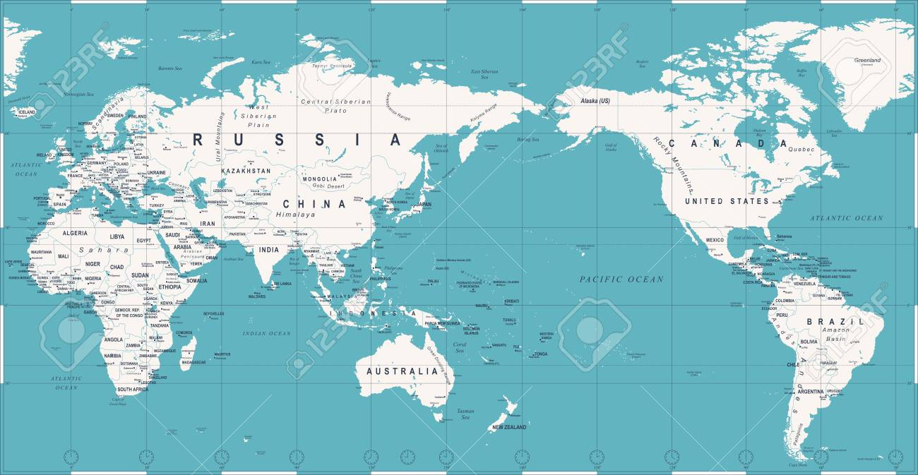 Pacific Centered World Map Political World Map Pacific Centered Vector Icon. Royalty Free