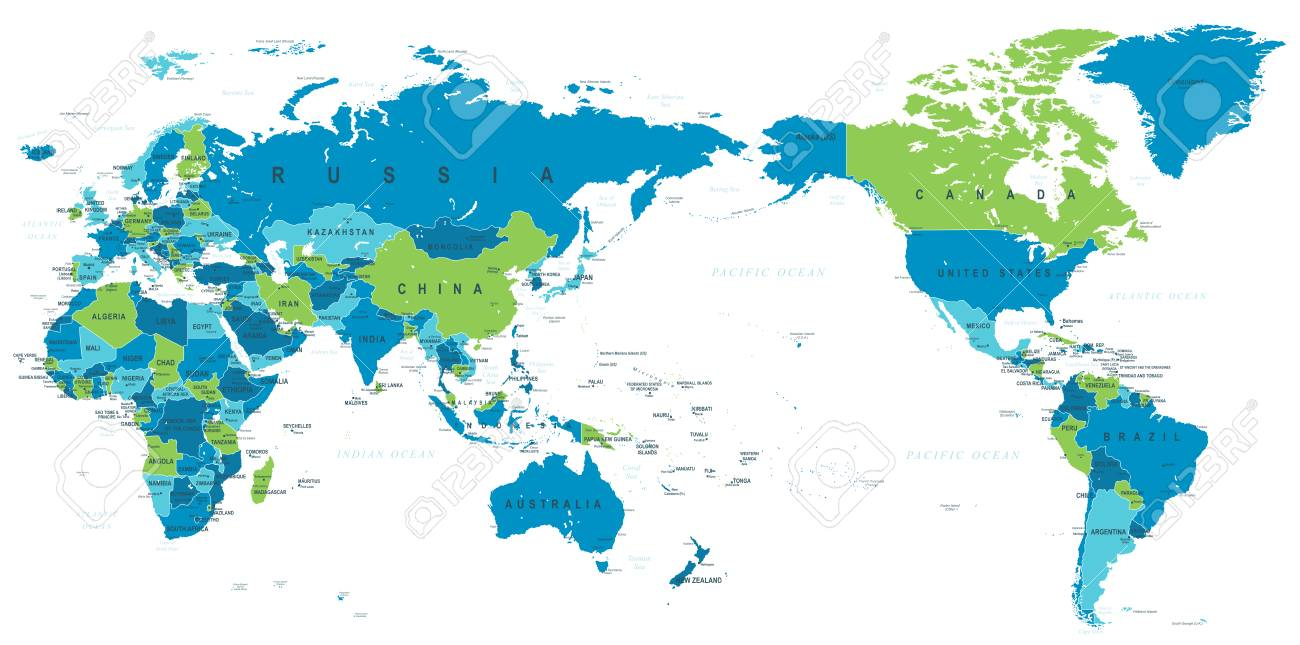 Political World Map Pacific Centered   Vector. Royalty Free