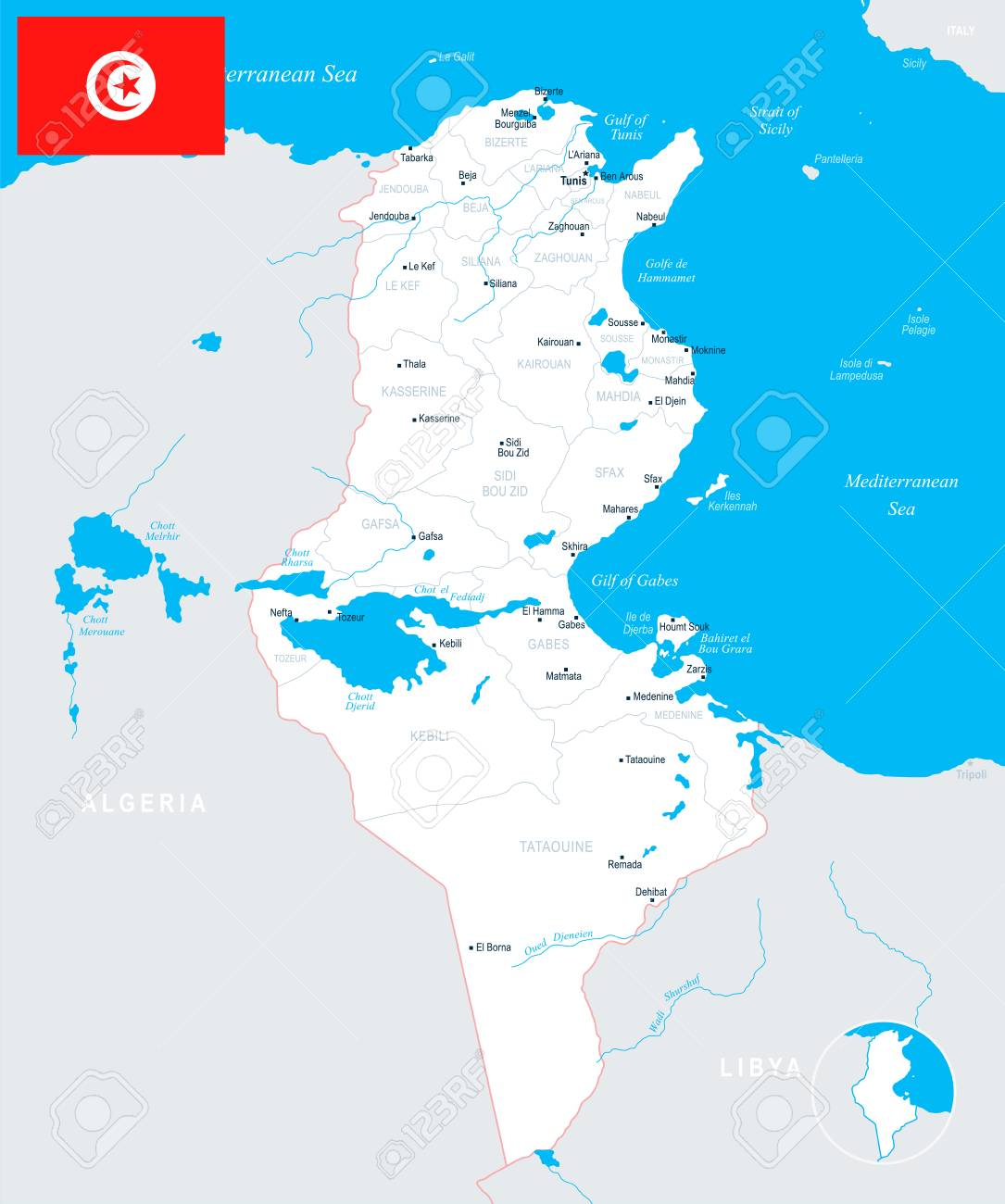Tunisia map and flag - High Detailed Vector Illustration