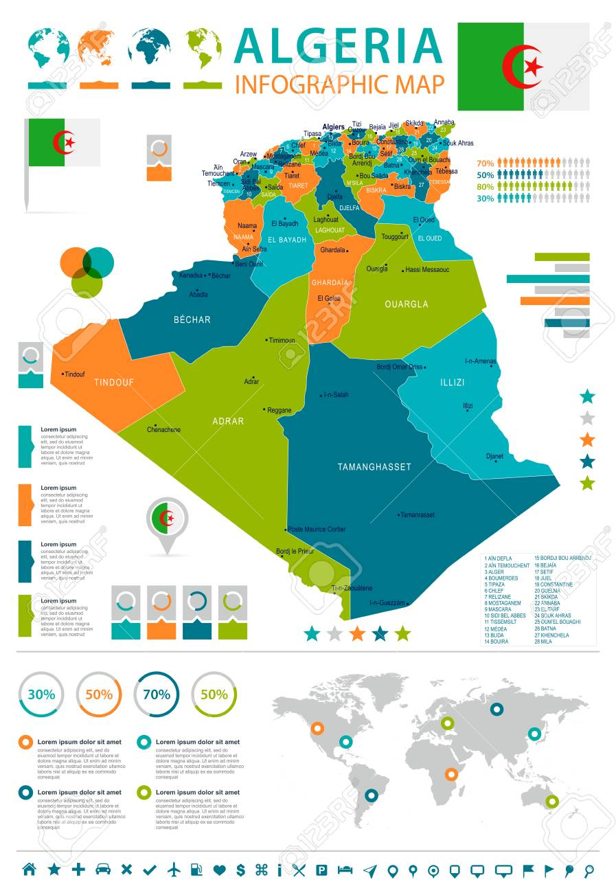 Algeria infographic map and flag - High Detailed Vector Illustration