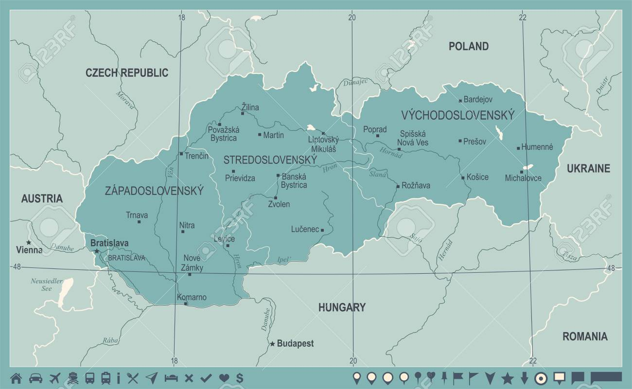 Slovakia Map Vintage High Detailed Vector Illustration Royalty Free - Vintage budapest map