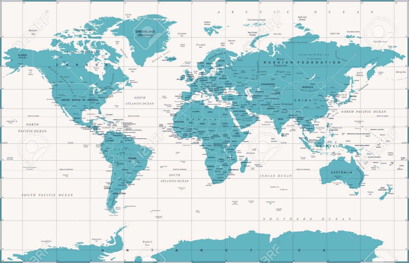 Political Vintage World Map Vector Illustration Royalty Free