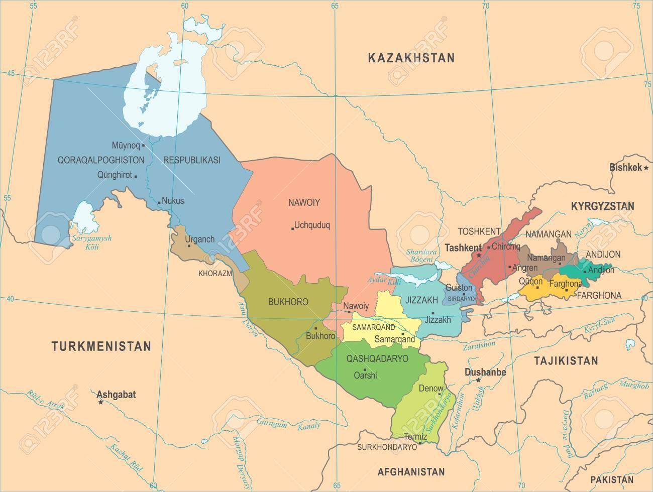 Uzbekistan Map High Detailed Vector Illustration Royalty Free