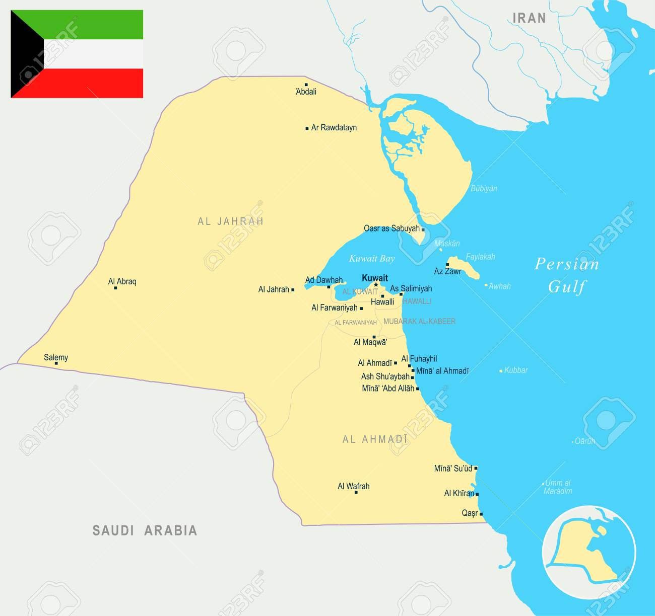 Kuwait, map and flag high detailed vector illustration.