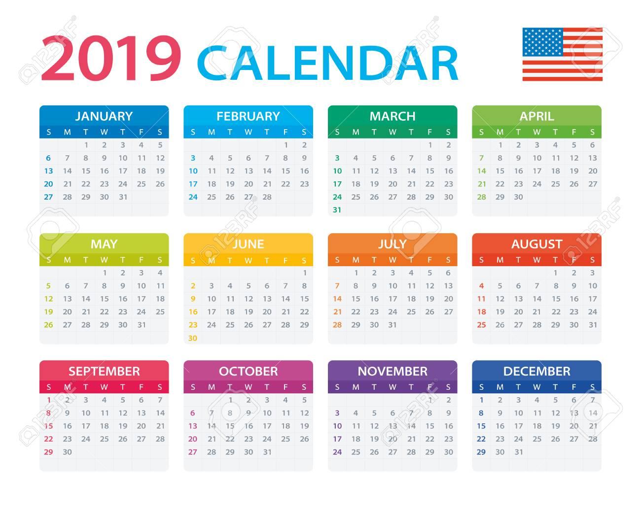 American 2019 Calendar Calendar 2019   American Version   Vector Illustration Royalty