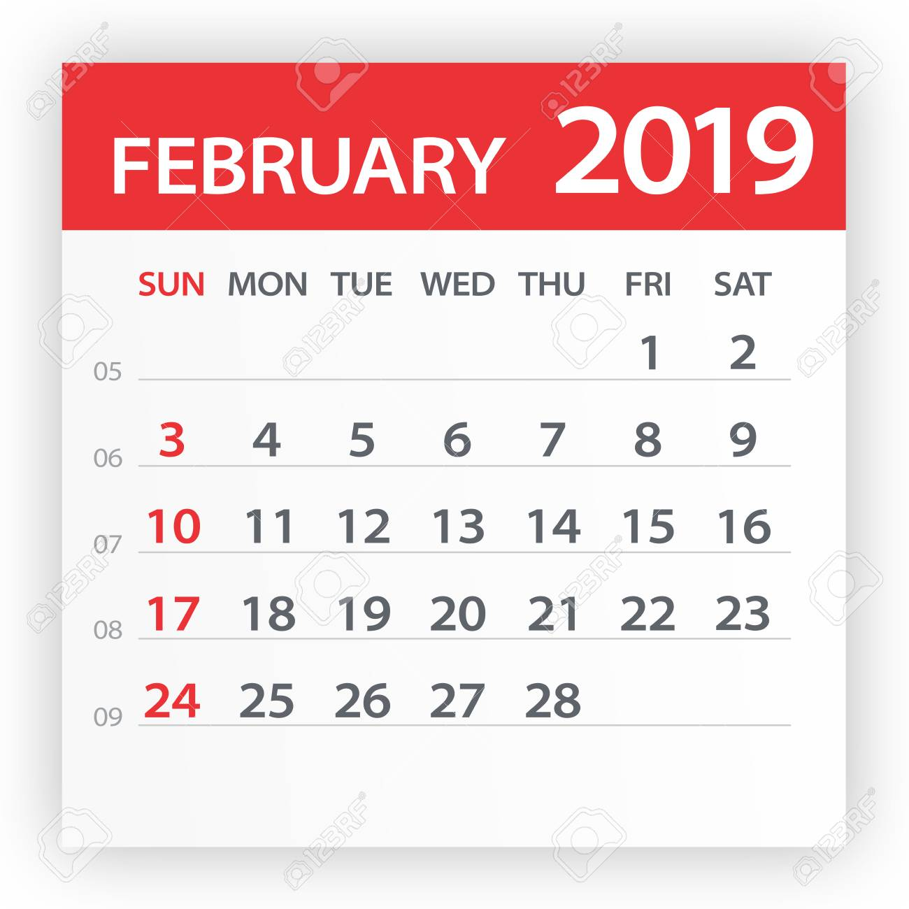 February 2019 Calendar Vector February 2019 Calendar Leaf   Illustration. Vector Graphic Page