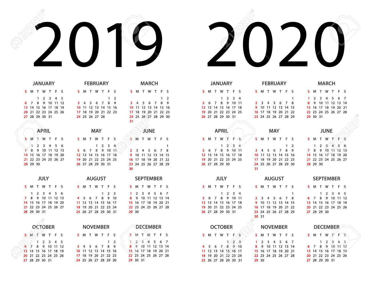 Calendar 2020 Year Calendar 2019 2020 Year   Vector Illustration. Week Starts On