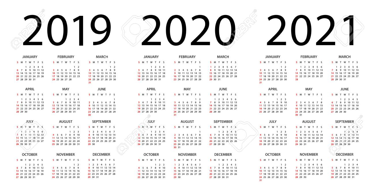 Yearly Calendar 2019 And 2021 Calendar 2019 2020 2021 Year   Vector Illustration. Week Starts