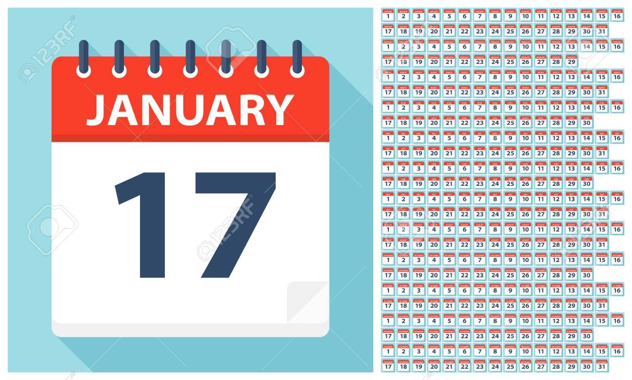 Calendar Days Icon.January 1 December 31 Calendar Icons All Days Of Year Vector
