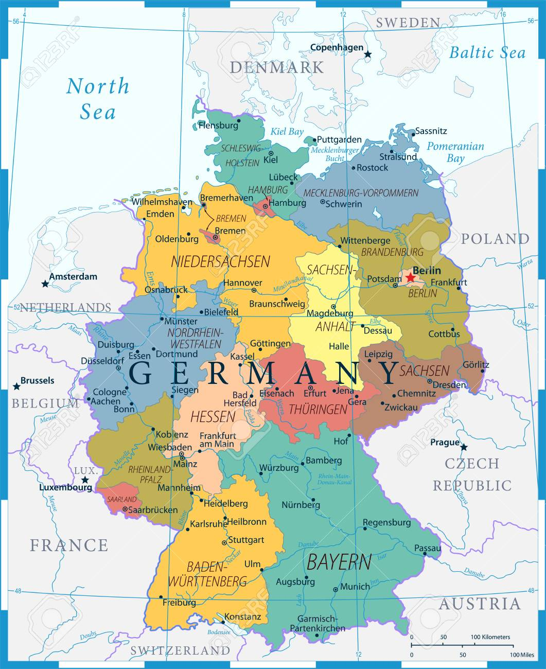 Germany Map - Color Grid - detailed vector illustration