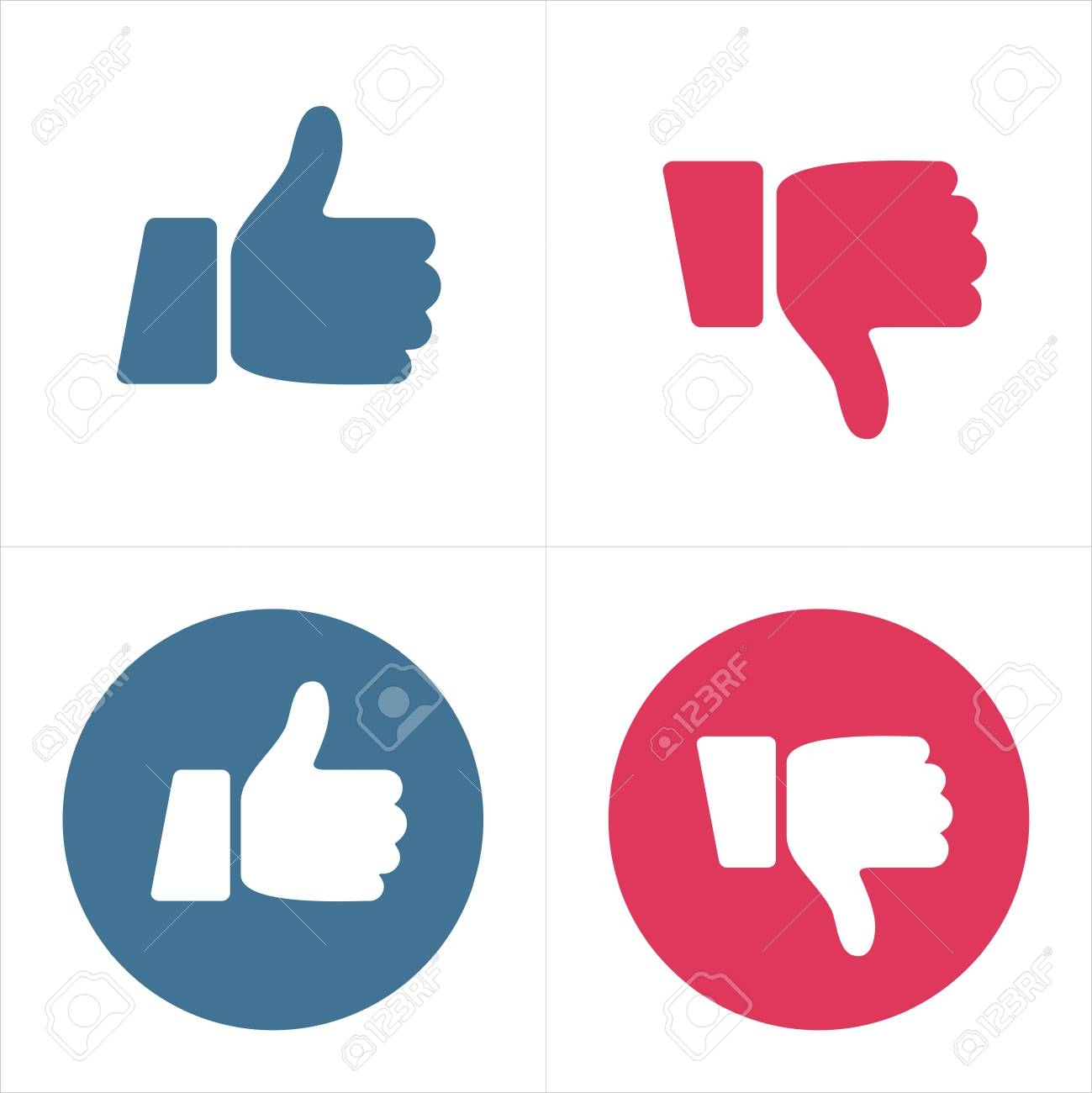 Like and Dislike Icons -Thumb Up and Thumb Down - illustration vector - 128499748