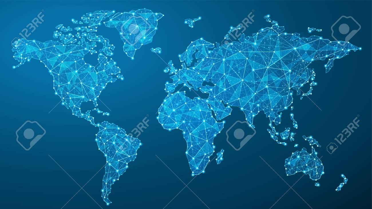Vector World Map - Global Communication - Lines, Dots, Triangles, Particles - Plexus - 125586049