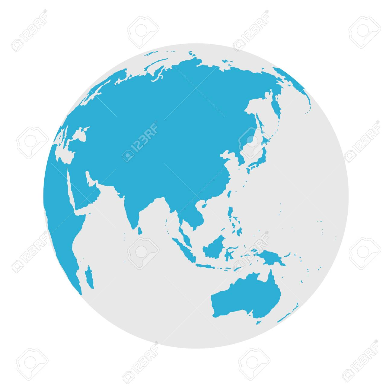 Globe Icon - Round World Map Flat Vector Illustration - 128499750
