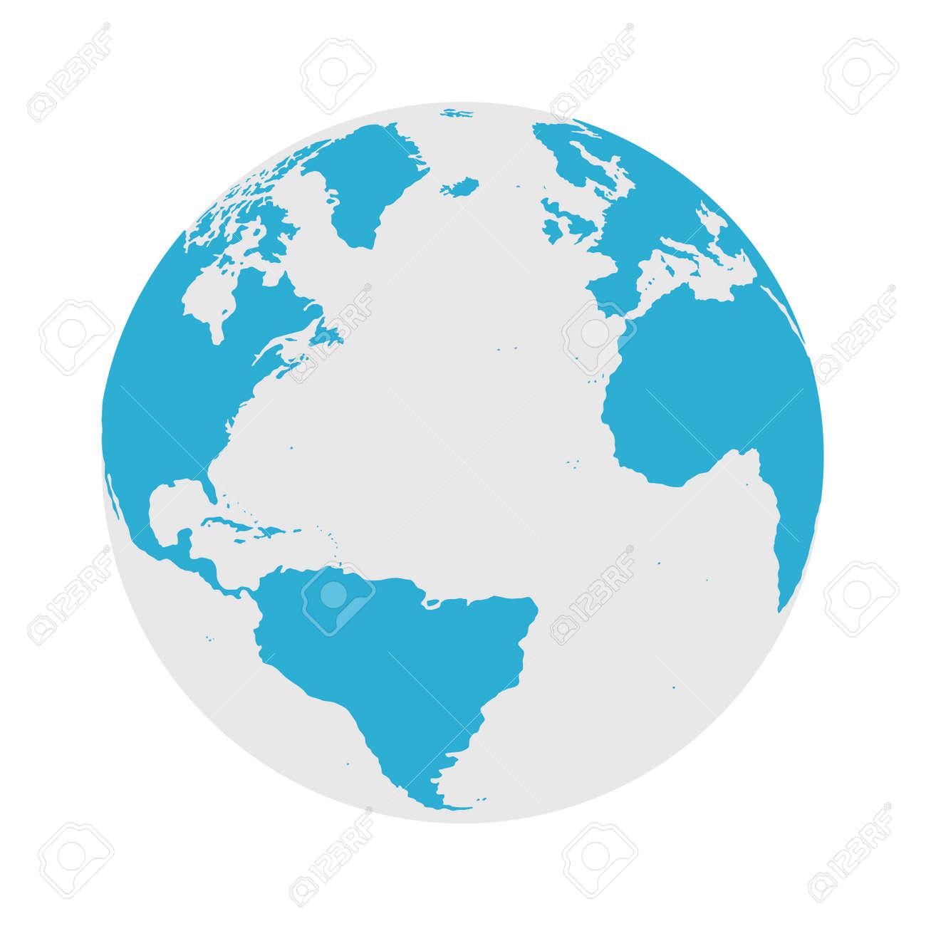 Globe Icon - Round World Map Flat Vector Illustration - 125586056