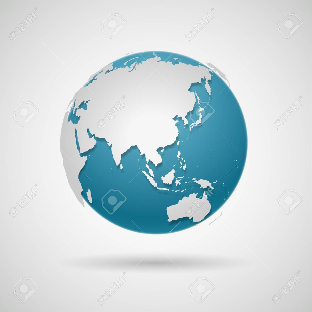Globe Icon - Round World Map Vector Illustration - 128499751