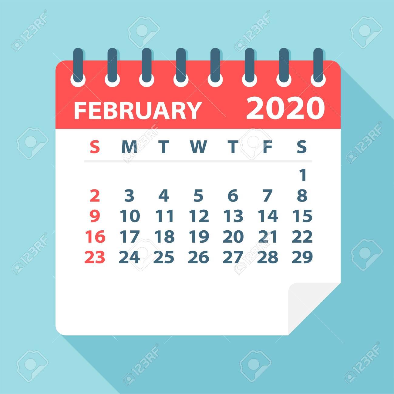February 2020 Calendar Leaf - Illustration. Vector graphic page - 128501461