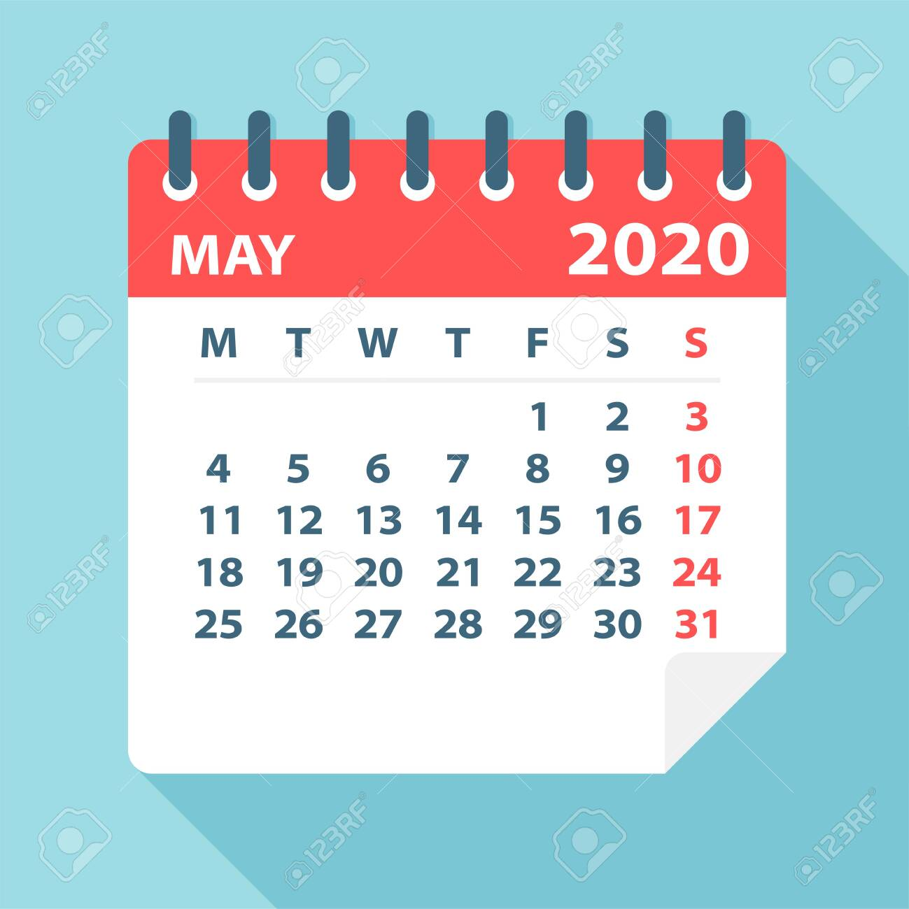 May 2020 Calendar Leaf - Illustration. Vector graphic page - 128501465