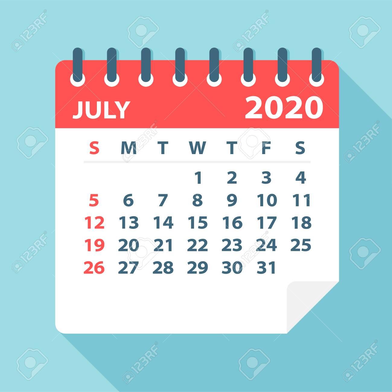 July 2020 Calendar Leaf - Illustration  Vector graphic page