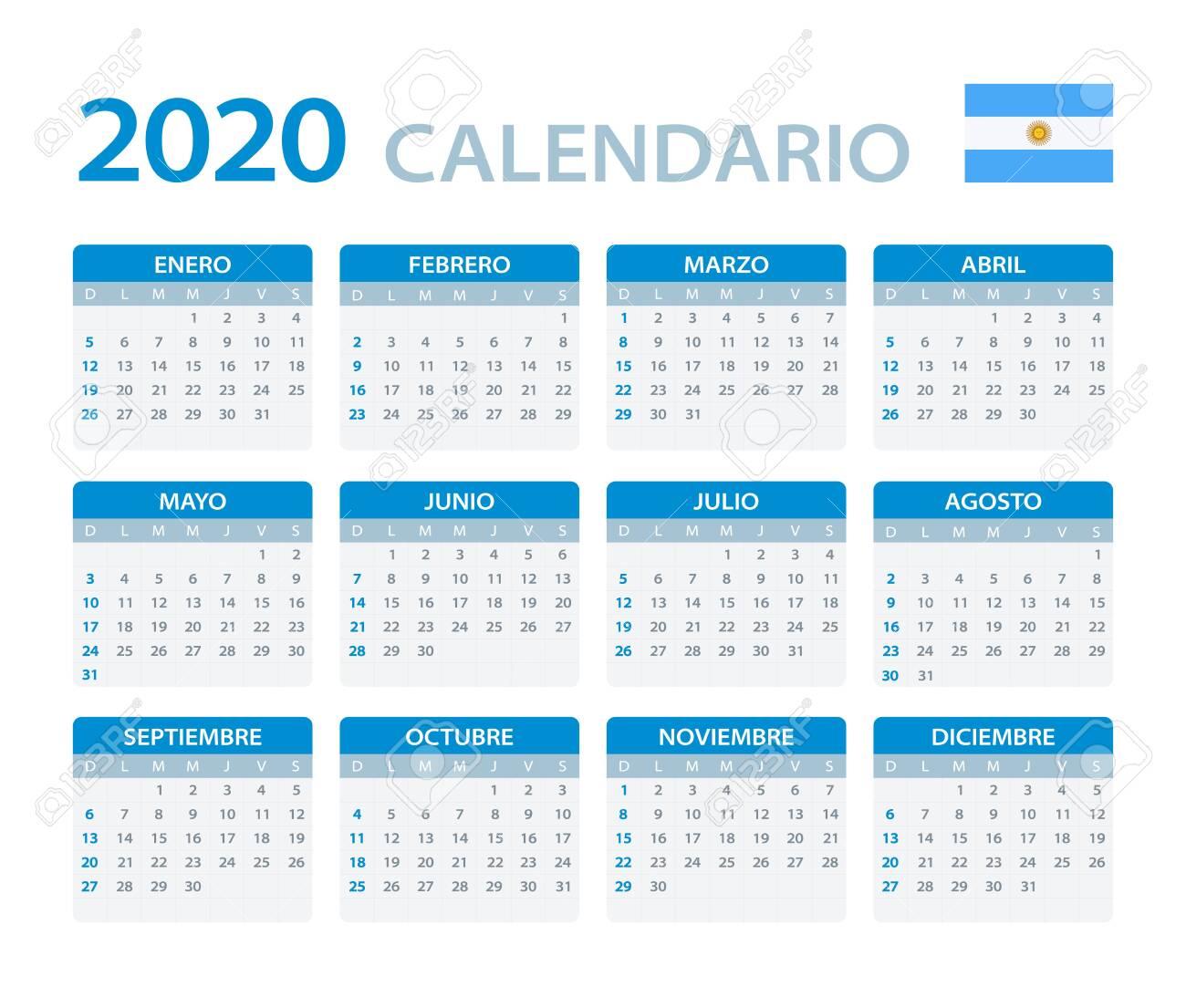 Calendario 2020 Chile Vector.Vector Template Of Color 2020 Calendar Argentinian Version