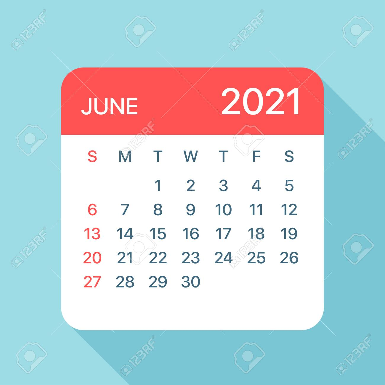 June 2021 Calendar Clipart June 2021 Calendar Leaf   Illustration. Vector Graphic Page