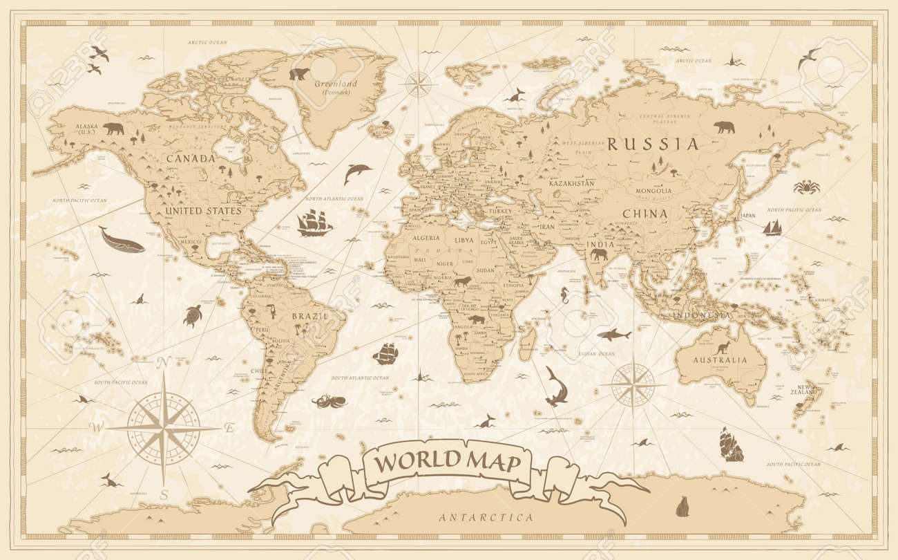 Detailed Vintage Cartoon World Map - vector illustration with layers - 159491168