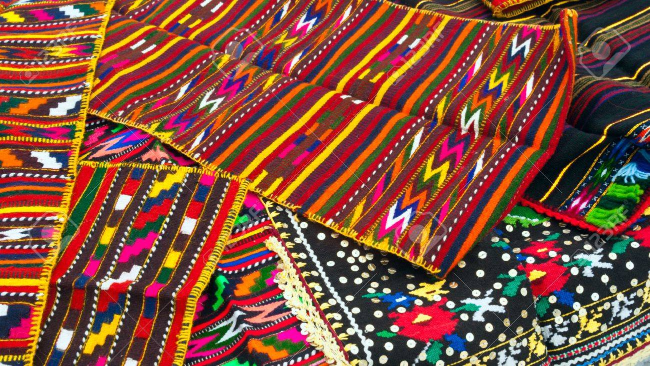 Stock Photo   Traditional Bulgarian Souvenirs   Colorful Tablecloths And  Blankets