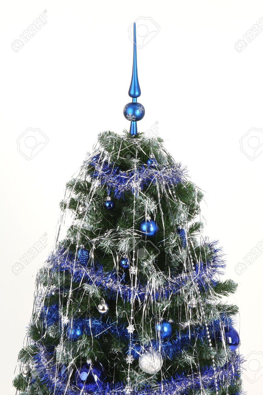 Blue And Silver Christmas Tree With Decent Decorations Stock Photo ...