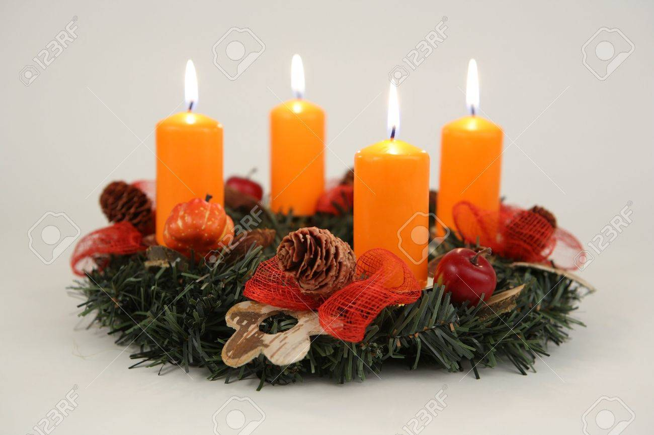 Advent Wreath Decorations Advent Wreath With Four Orange Candles And Decorations Stock Photo