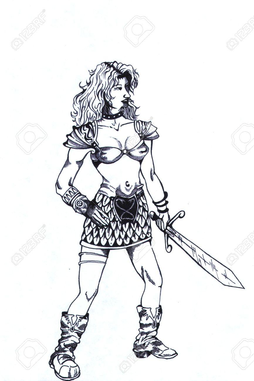 Femme Guerrière Comme Le Noir Et Blanc Motif De Tatouage