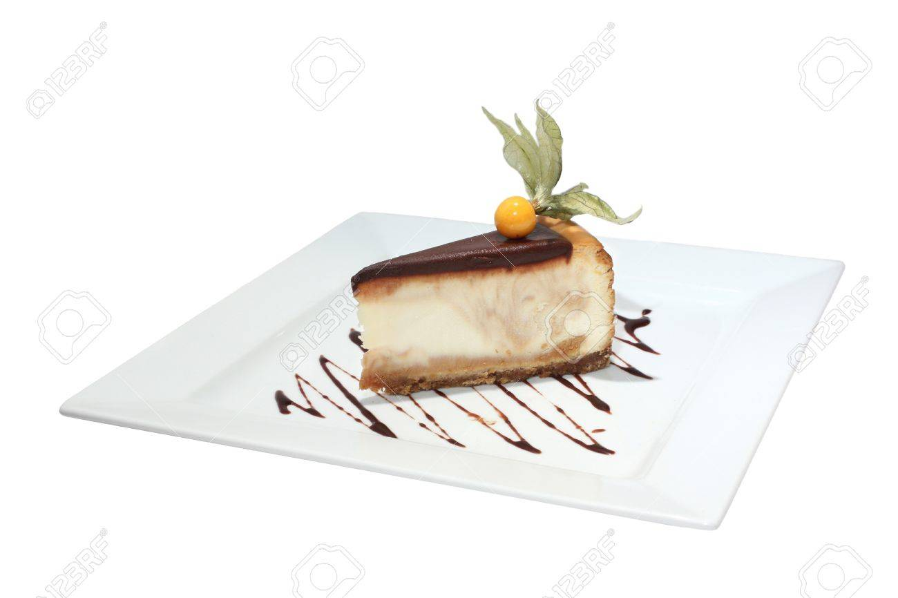 Cheesecake with chocolate decorated physalis. Isolated on white - 4498399