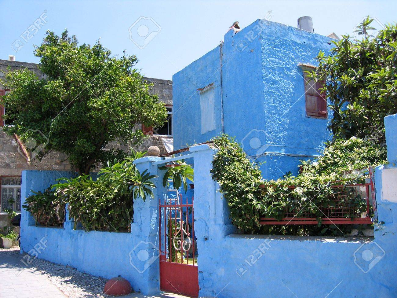 Traditional Greek House traditional greek house and garden stock photo, picture and
