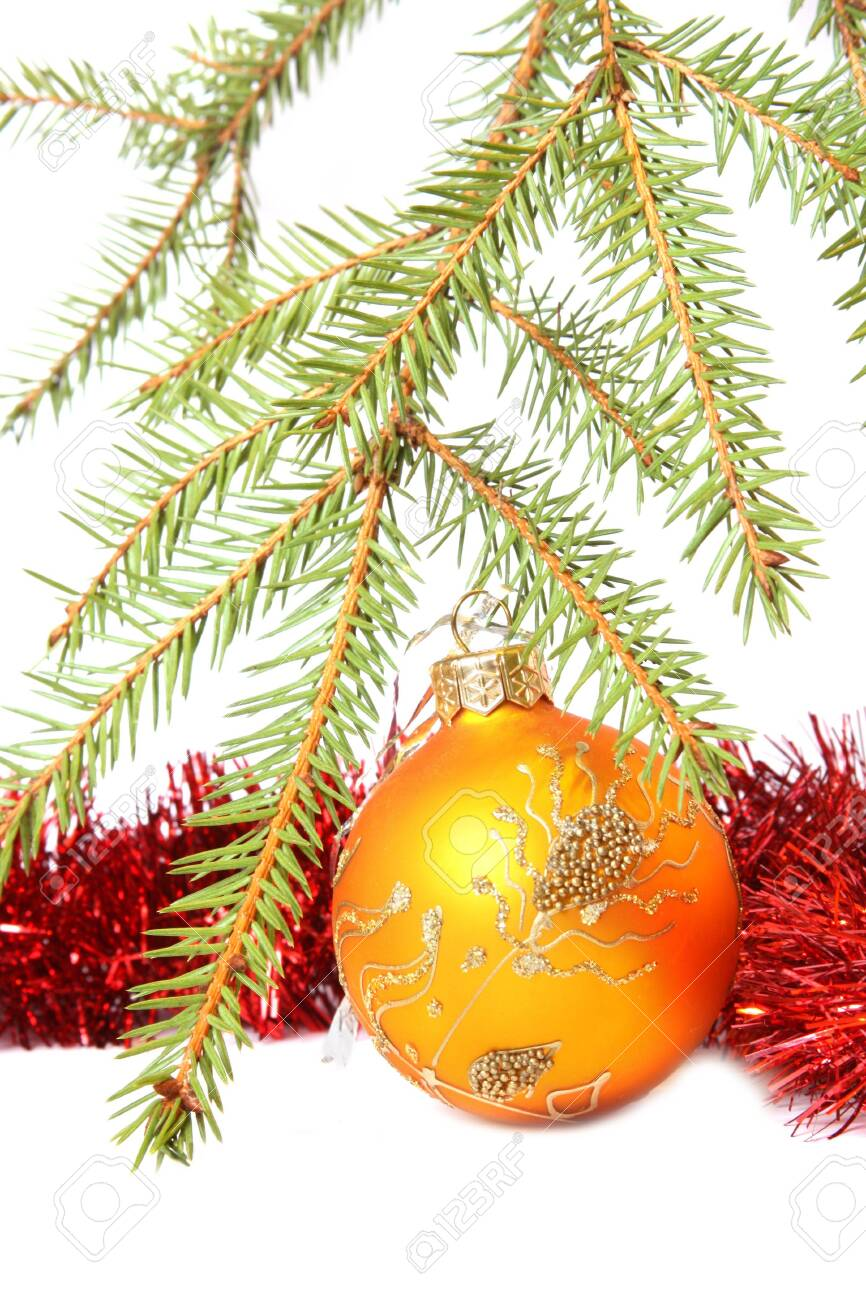 Christmas Tree, bauble and tinsel. Isolated on white Stock Photo - 6108207