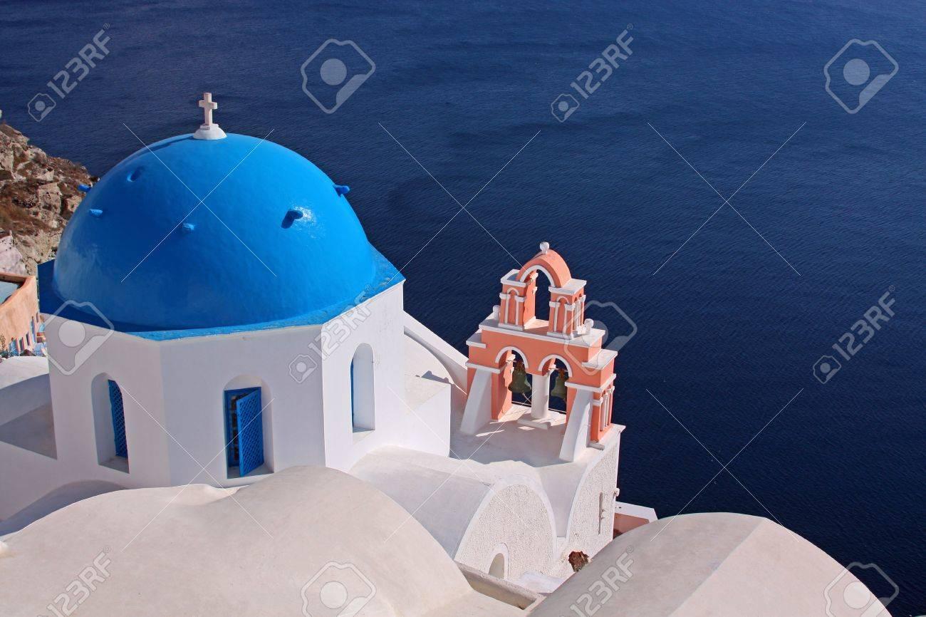 Orthodox church on the island of Santorini, Greece - 10879316