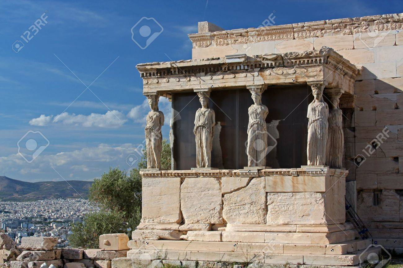 The ancient Porch of Caryatides in Acropolis, Athens, Greece - 12620095