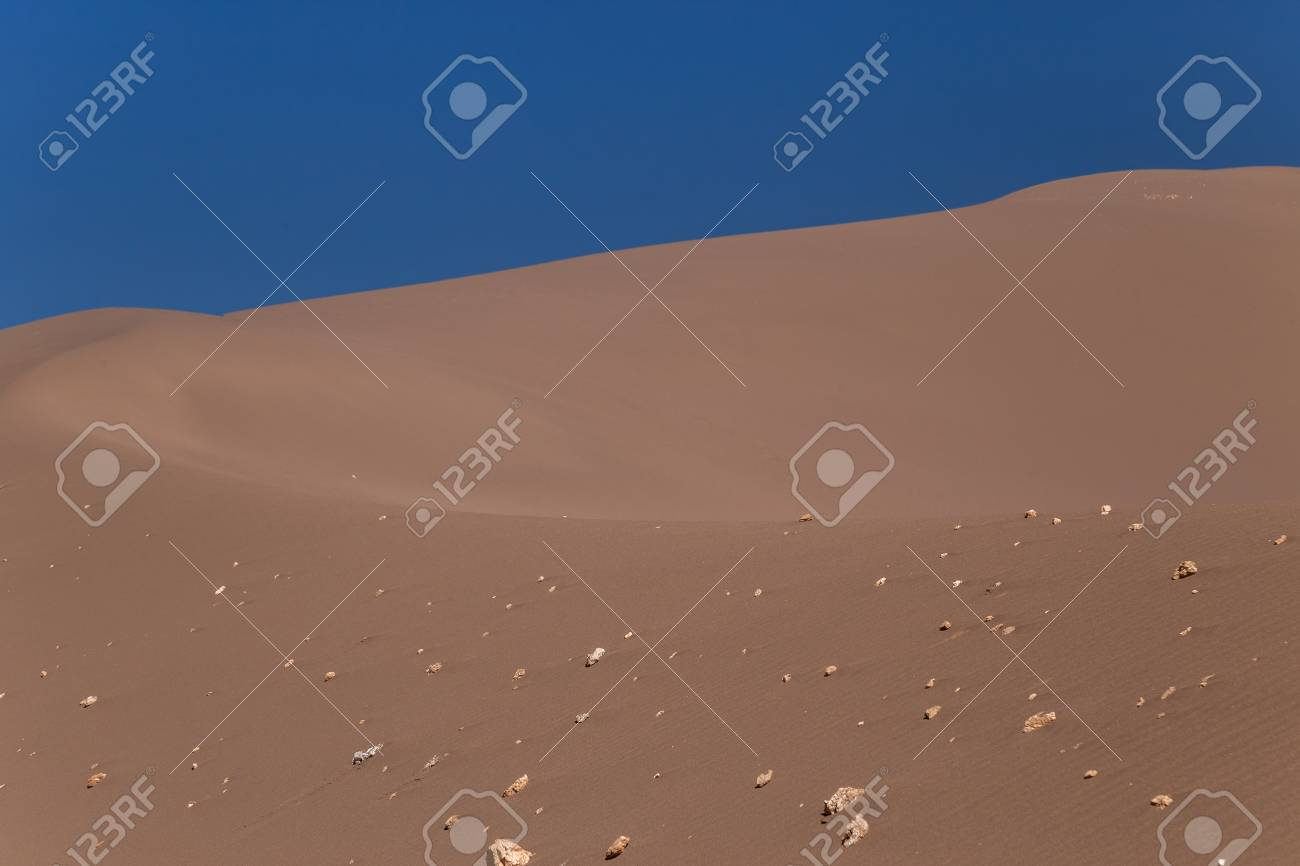 Big sand dune with stones on its slope - 115409295