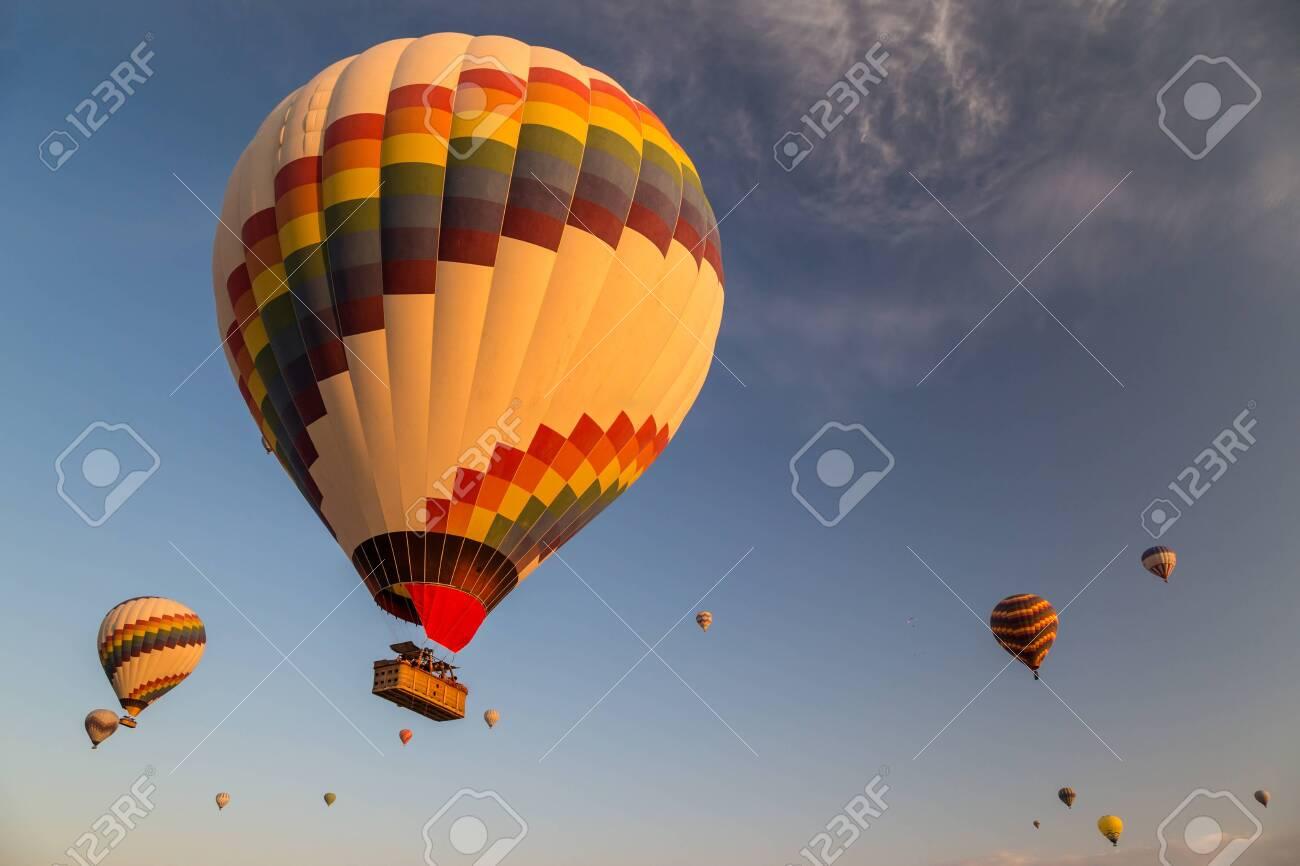 Hot air balloons flying at sunrise - 115409717