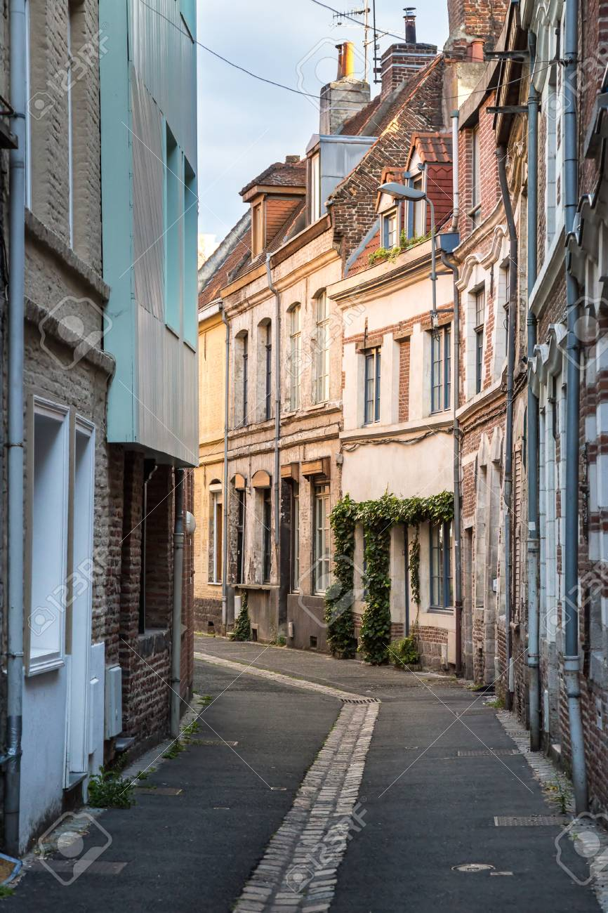 Old street in the historical part of Lille, France - 115410191