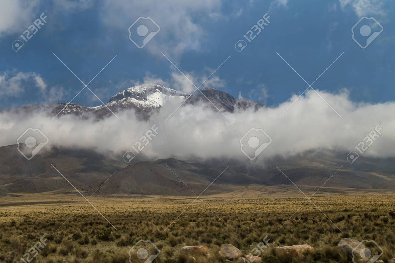 Hills and mountains at the border of Peruvian Altiplano - 115410323