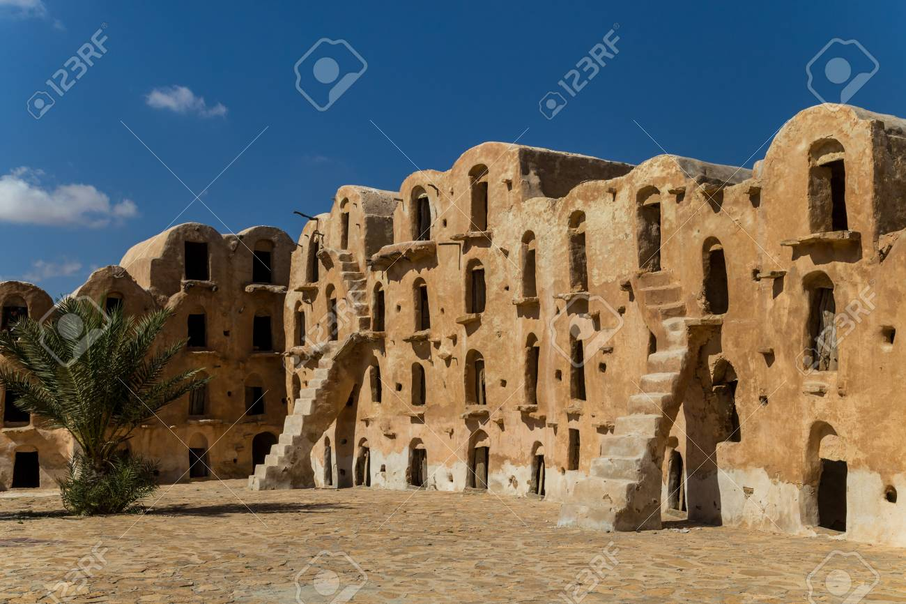 Granaries (grain stores) of a berber fortified village, known as ksar. Ksar Ouled Soltane, Tunisia - 116426841