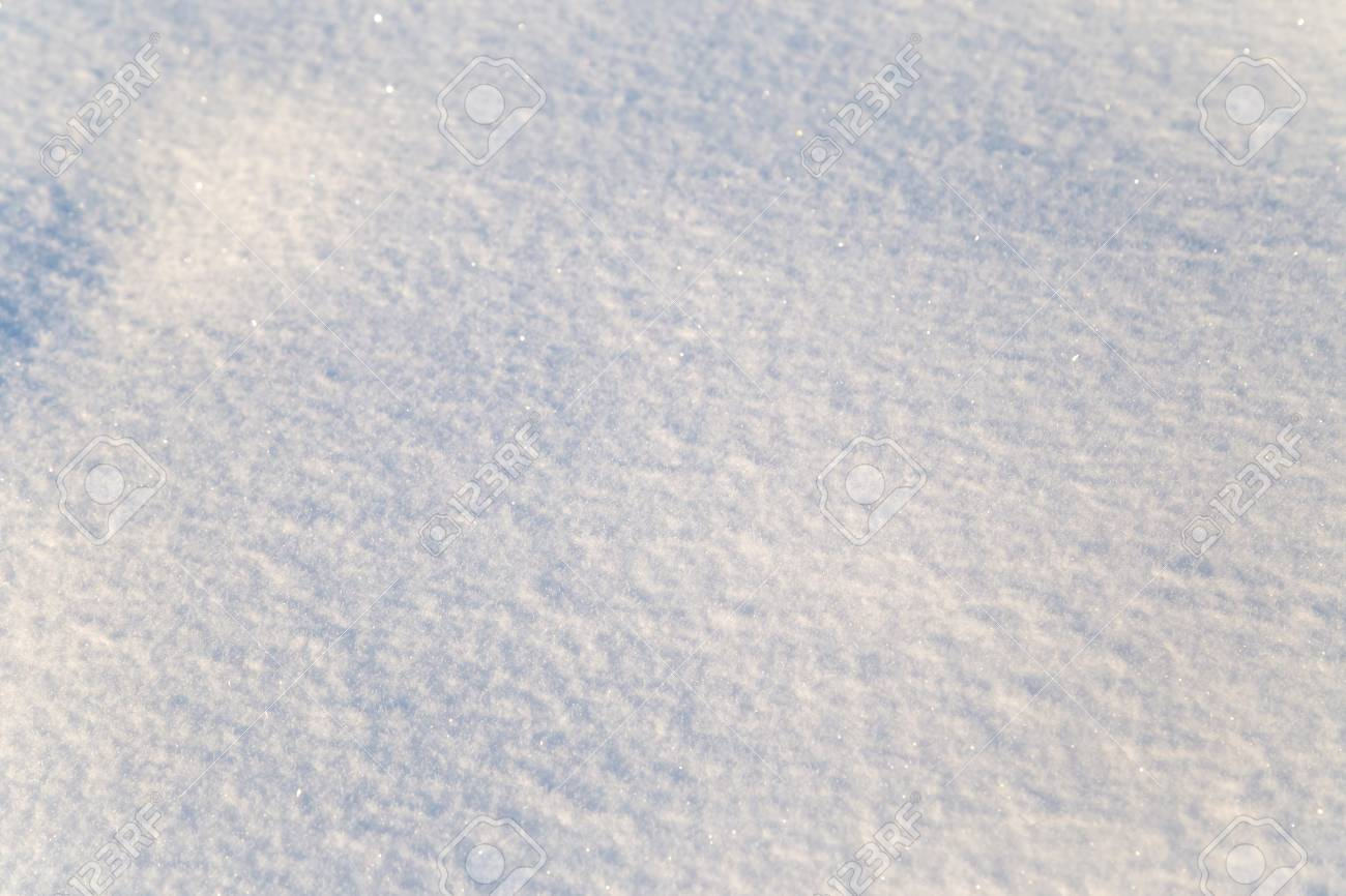 Background of white snow sparkling in the sun. Shallow depth of field - 116427063