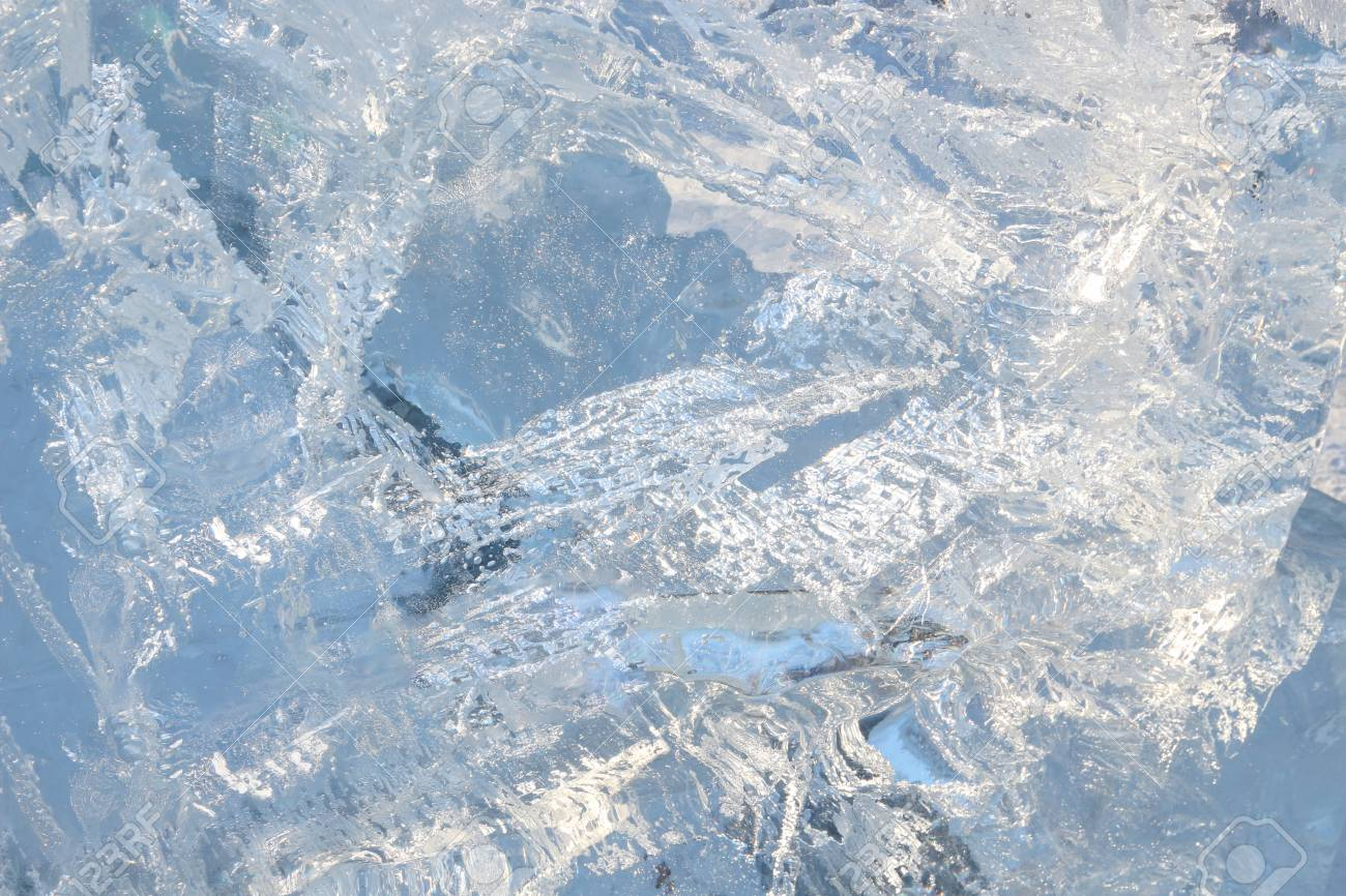 Full frame ice background. Backlit with the sun - 127056665