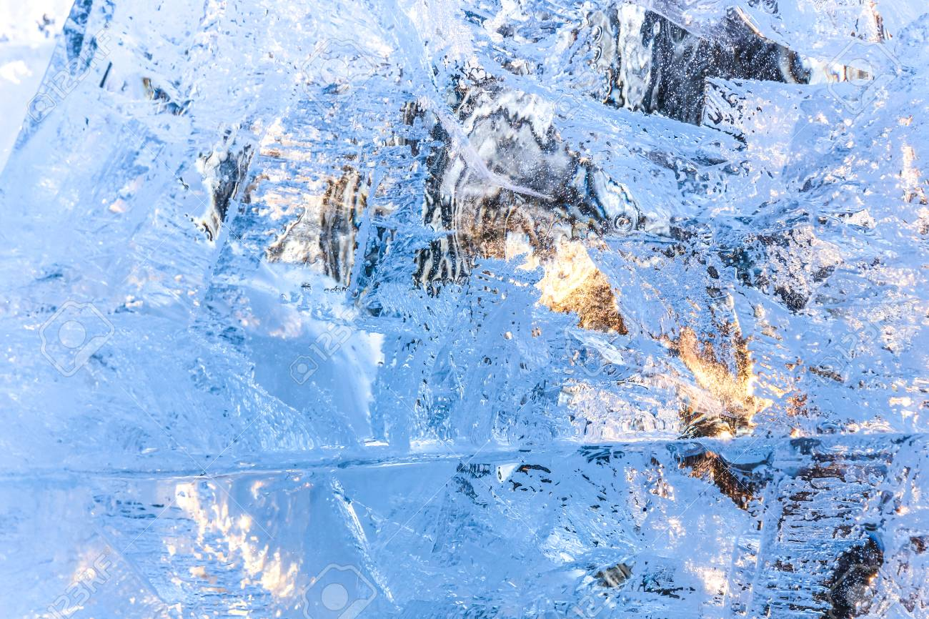 Full frame ice background. Backlit with the sun - 127056666