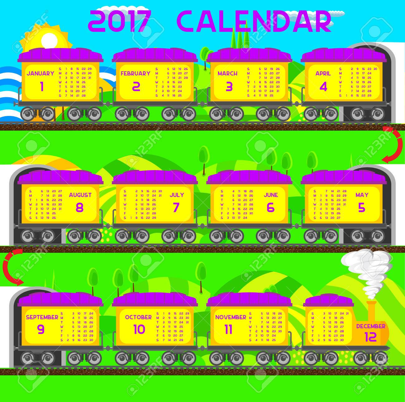 New Year Children S Calendar Train 2017 Royalty Free Cliparts